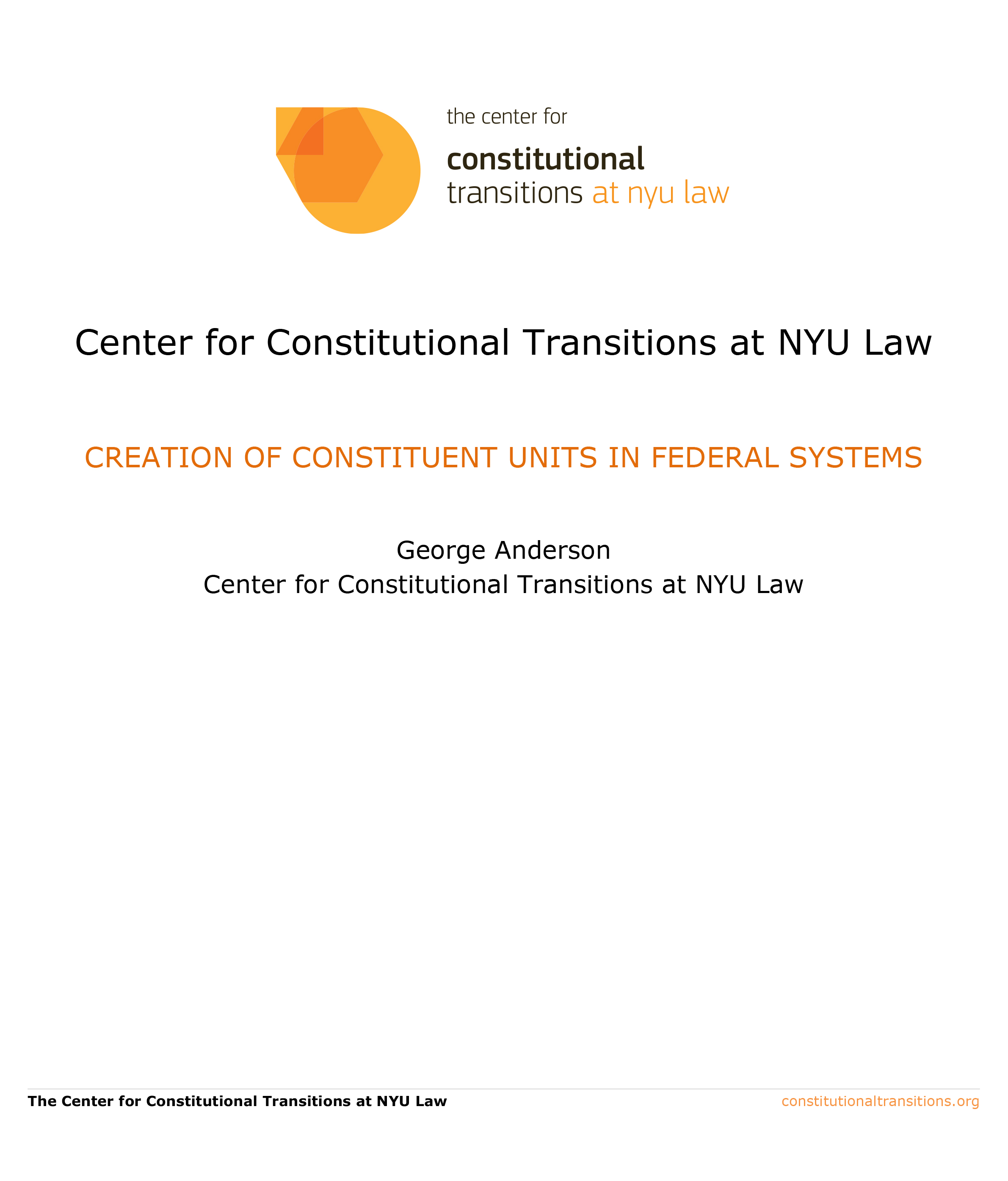 creation of constituent units in federal systems - constitutional